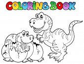 picture of dinosaur-eggs  - Coloring book with tyrannosaurus  - JPG