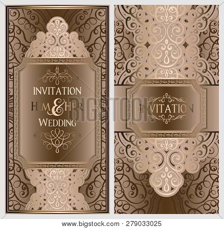 Luxury Wedding Invitations.Beige And Gold Luxury Wedding Invitation Card With Golden Shiny Eastern And Baroque Rich Foliage Or Poster