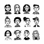 Big Set Of Gilrls Avatars. Doodle Style Portraits Of Fashionable Girls. Feminists Union, Girls Power poster