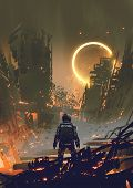 Astronaut Standing In A Burnt City And Looking At A Yellow Glowing Ring In The Dark Sky, Digital Art poster