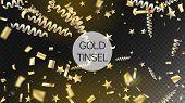 Modern Gold Explosion, Stars, Streamers, Tinsel Burst. Horizontal Mystical Glitter Background. Cool  poster