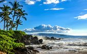 Tropical Ocean Beach At Sunset. Beautiful Scenic Tourist Travel Destination Location. Relaxing Hawai poster