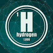 Hydrogen Chemical Element. Sign With Atomic Number And Atomic Weight. Chemical Element Of Periodic T poster