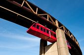 stock photo of memphis tennessee  - Memphis Suspension Railway bridge to Mud Island - JPG