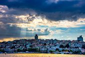 Sunrays Above The Urban Part Of Istanbul City poster