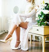 Beauty Young Bride Alone In Luxury Vintage Interior With A Lot O poster