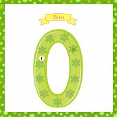 Cute Children Flashcard Number One Tracing With Zero For Kids Learning To Count And To Write. Learni poster