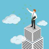 Isometric Businessman At The Top Of Skyscraper Throwing His Money poster