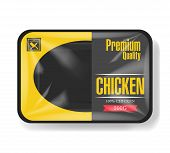 Chicken Meat Packaging. Plastic Tray Container With Cellophane Cover. Mockup Template For Your Desig poster