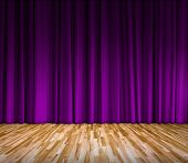 Background With Purple Curtain And Wooden Floor Interior Background, Interior Template For Product D poster