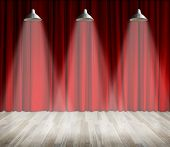 Background. Lamp With Lighting On Stage. Lamp With Red Curtain And Wooden Floor Interior Background. poster