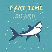 Vector Shark Silhouette With Fish And Stars Isolated On Green Background, Symbols, Icon, Design Elem poster