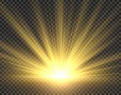 Sunlight Isolated. Golden Sun Rays Radiance. Yellow Bright Spotlight Transparent Sunshine Starburst  poster