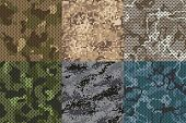Camouflage Khaki Texture. Army Fabric Seamless Forest And Sand Camo Netting Pattern Vector Textures  poster