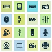 Device Icons Set With Smart Watch, Keyboard, Printer And Other Mic Elements. Isolated  Illustration  poster