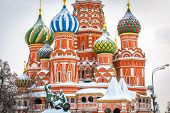 St Basil`s Cathedral On Red Square In Winter, Moscow, Russia. It Is An Old Landmark Of Moscow. Beaut poster