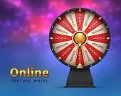 Fortune Wheel Background. Lucky Money Risk Game. Spinning Fortune Wheels Casino Lottery Gambling Vec poster