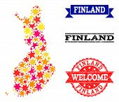 Mosaic Map Of Finland Composed With Colored Flat Stars, And Grunge Textured Stamps, Isolated On An W poster
