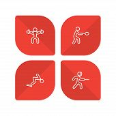 Set Of 4 Sport Icons Line Style Set. Collection Of Fencing, Diving, Weightlifting And Other Elements poster