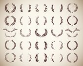 Collection Of Different Vintage Silhouette Circular Laurel Foliate, Wheat And Oak Wreaths Depicting  poster