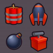 Set Of Explosive Weapon Game Icons. Bomb Icons And Explosives. Explosion, Tnt Detonation Signs. Game poster