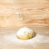 Homemade Dough With Flour On Wooden Background. Dough On The Background With A Place For Copispeysa. poster