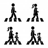 Stick Figure Walking Pedestrian Vector Icon Pictogram. Man, Woman And Children Crossing Road Set poster