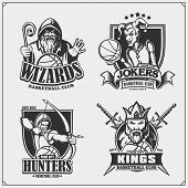 Set Of Basketball Badges, Labels And Design Elements. Sport Club Emblems With Hunter, Wizard, King A poster