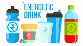 Energetic Drink Vector. Energy Icon. Bottle, Sport Can Or Tin. Isolated Flat Cartoon Illustration poster