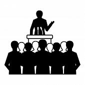 Political Speaker Icon. Simple Illustration Of Political Speaker Icon For Web Design Isolated On Whi poster