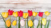 Easter Eggs And Tulips. Happy Easter Card With Copy Space. Colorful Easter Eggs Among Fresh Spring T poster