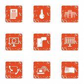 Knowledge Folder Icons Set. Grunge Set Of 9 Knowledge Folder Icons For Web Isolated On White Backgro poster