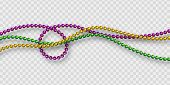 Mardi Gras Beads In Traditional Colors. Decorative Glossy Realistic Elements. Isolated On Transparen poster