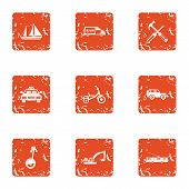 Heavy Machinery Icons Set. Grunge Set Of 9 Heavy Machinery Icons For Web Isolated On White Backgroun poster