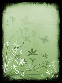 image of floral design  - Abstract floral design with butterflies on grunge background - JPG