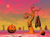 image of corpses  - Pumpkins lantern tree corpse houses and rope for halloween scene by sunset - JPG