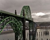 stock photo of u-boat  - Located in Newport Oregon is one the most recognizable bridges on U S route 101 - JPG