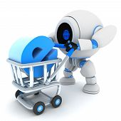 stock photo of ebusiness  - Robot and cart e - JPG
