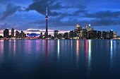 stock photo of urbanisation  - Scenic view at Toronto city waterfront skyline at night