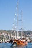 Sailing Boat Leaving Bodrum Marina, Turkey