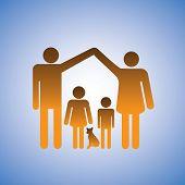 stock photo of nuclear family  - Concept illustration of parentschildren  - JPG