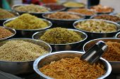 foto of indian food  - Bowls filled with Indian spices and food