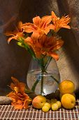 Still Life With Day Lily And Fresh Fruits