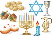 picture of dreidel  - A pack of Vector illustrations of famous symbols for the Jewish Holiday Hanukkah - JPG