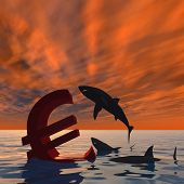 High resolution conceptual bloody euro symbol or sign sinking in water or sea, with black sharks eat