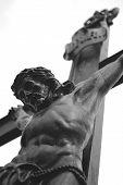 foto of inri  - Crucifix INRI on a cemetery near Bruges in Belgium - JPG