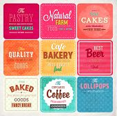 Set of retro bakery label cards for vintage design, old paper textures background and seamless patte