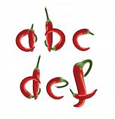 Alfabeto, red hot chilli peppers. Formato editable vector.