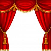 picture of tassels  - Theater stage with red curtain - JPG