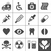 Medical and health icon set. Simplus series. Vector illustration
